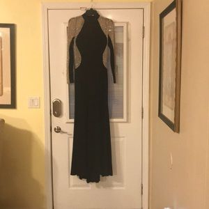 Xscape beaded choker neck gown